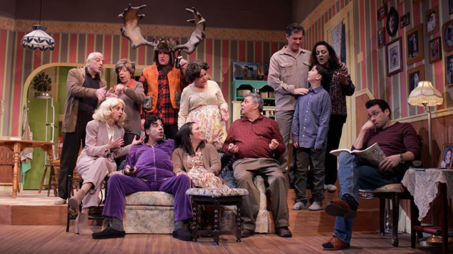 """The Sudbury Theatre Centre's latest mainstage production, """"Moose on the Loose"""", contains some wild gesturing, a candy-striped living room, and a big pair of antlers. The hilarious and heartwarming portrayal of Italian immigrants transplanted into Northern Ontario runs Feb. 16 to March 5. Photo by Callam Rodya"""
