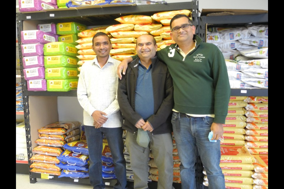(From left) Tejas Patel, Neeraj Aghera and Jimmy Rathod, owners of Bombay Spices, saw a need for an Indian grocery store in Sudbury, the only one north of Barrie. (Vicki Gilhula/Sudbury.com)