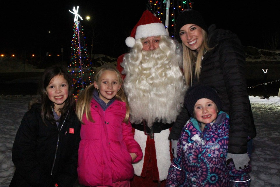 (From the left) Sophie Pafford, Mila Santos, Taylor Austin, owner of Dance Evolution, and Eliana Santos at Science North for the Sudbury Charities Foundation's 2019 Festival of Lights. (Keira Ferguson/ Sudbury.com)