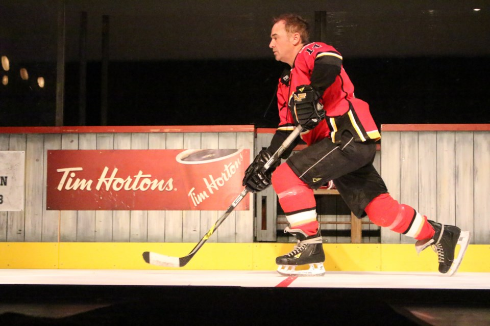 "Actor Shaun Smyth portrays former NHLer Theo Fleury in Sudbury Theatre Centre's ""Playing With Fire: The Theo Fleury Story."" The production runs Sept. 26 to Oct. 5. (Keira Ferguson/Sudbury.com)"