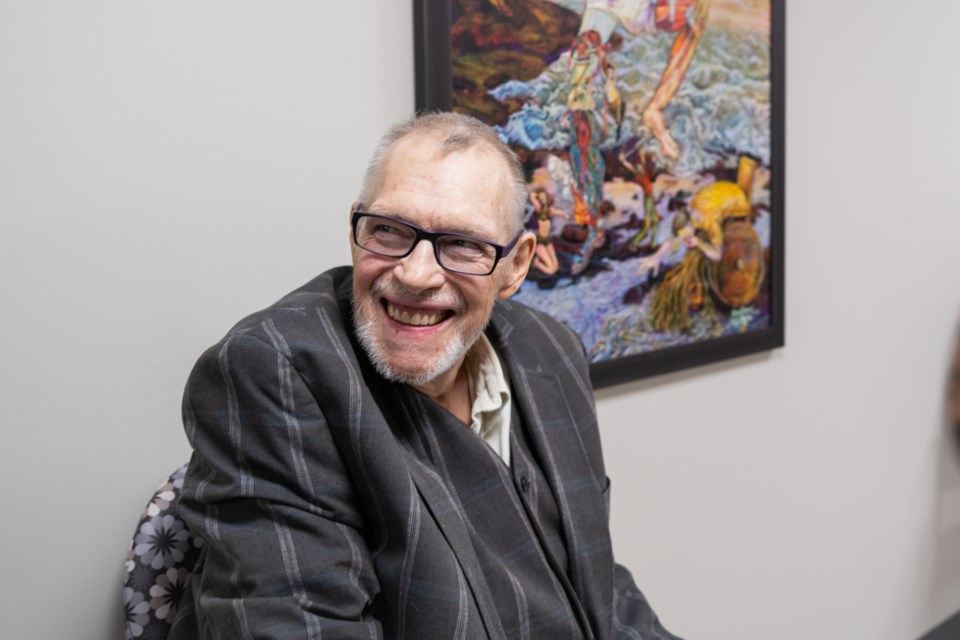 Gregory Maskwa donated a painting to HSN's Integrated Chronic Pain program in appreciation for the care they have and continue to provide. (Jenny Lamothe/Sudbury.com)