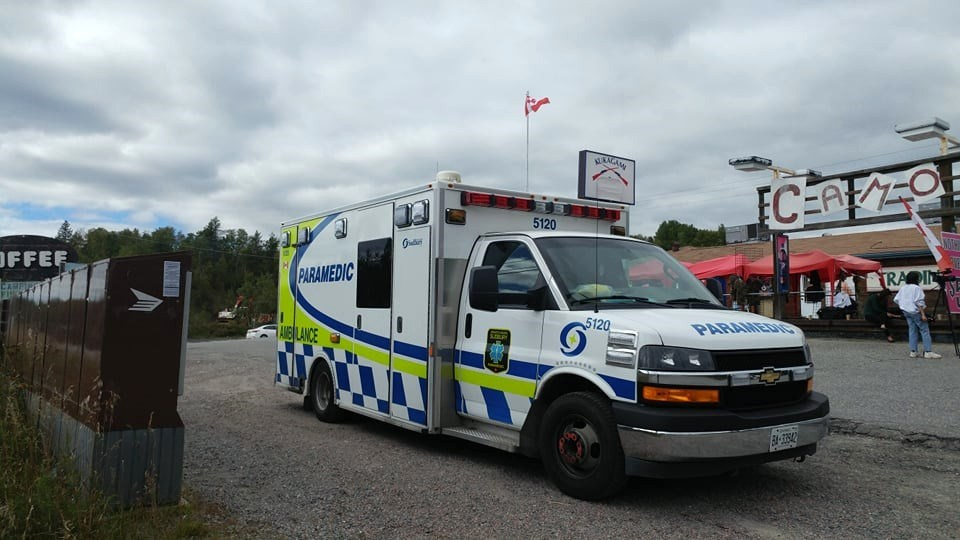 The robbery suspect who led Greater Sudbury Police and OPP on an hours-long chase was transported to hospital in Sudbury by ambulance following his arrest.