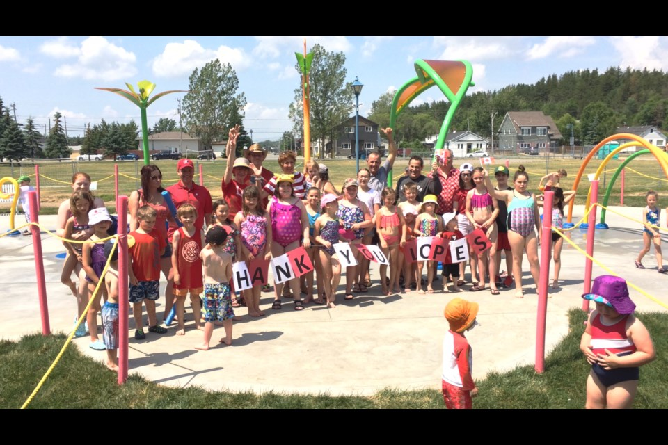Residents of Coniston had an extra reason to celebrate Canada Day with the grand opening of the Adélie Splash Pad and Community Gardens Greenhouse in Centennial Park. (Supplied)