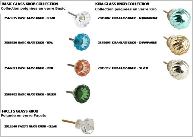 Health Canada has ordered a recall of various glass knobs sold by Pier 1 Imports because the product can fracture, posing a laceration hazard.