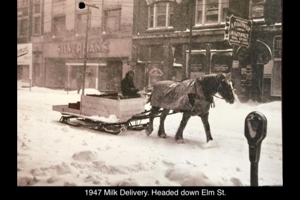 Delivering milk on Elgin Street in 1947.