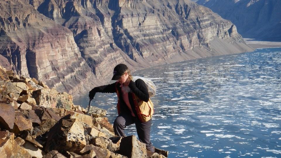 Dr. Elizabeth Turner conducting research in the field on northern Baffin Island, Nunavut.