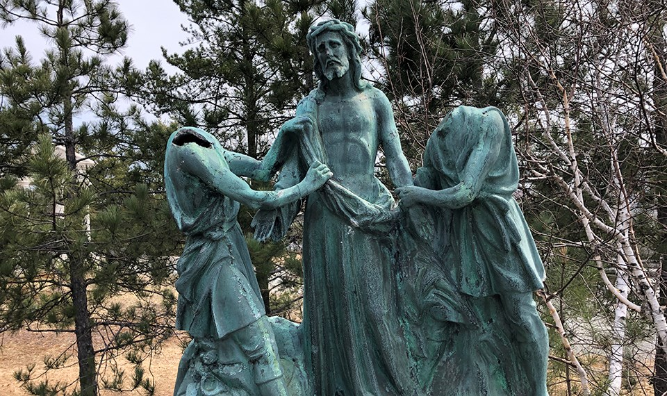 Eight statues depicting the Stations of the Cross at the Grotto of Our Lady of Lourdes were vandalized in May 2020.