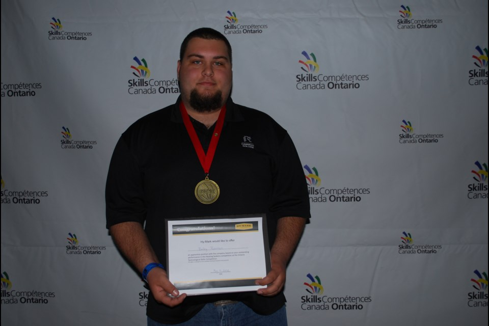Cambrian College student Bailey Bowman won the gold medal in the Heating Systems Technician category at the Ontario Technological Skills Competition (OTSC). Supplied photo.