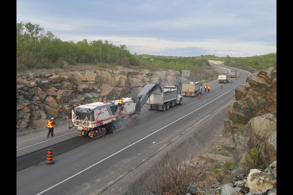 A five-kilometre stretch of Highway 17 near Sudbury was rehabilitated this week using a 3D-scanning model that allowed the construction crew to finish its work days ahead of schedule. (Supplied)