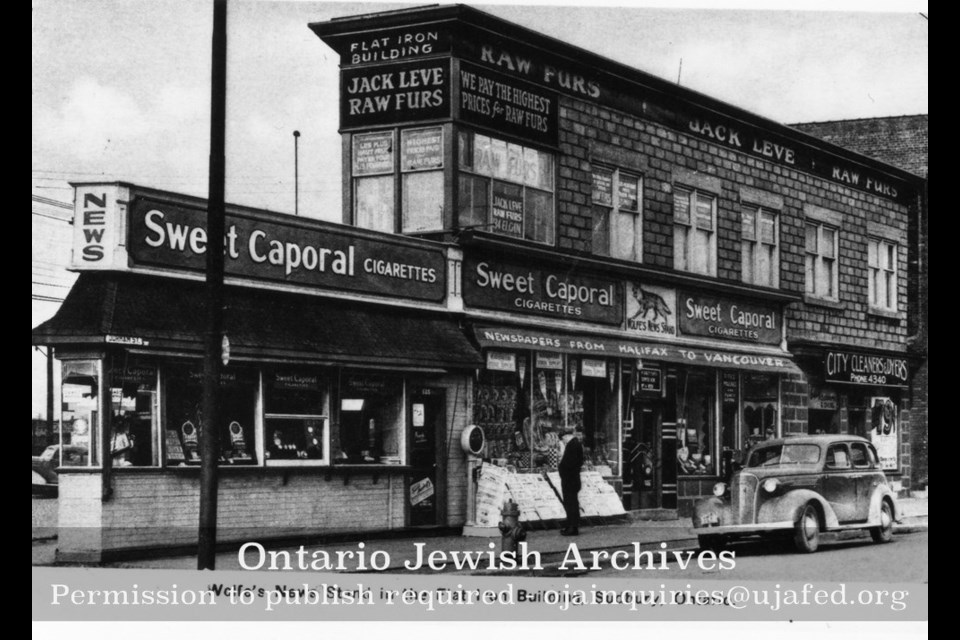 Sudbury's flatiron building at the corner of Durham and Elgin looked a bit different prior to a fire that ripped through the structure in 1946. When it was rebuilt, a third storey was added and the section on the front of the building was never rebuilt. (Ontario Jewish Archives)