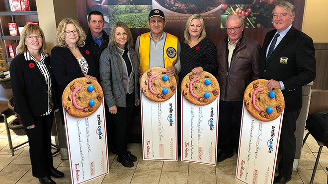 Local Tim Hortons franchisees handed out cheques today to charities benefiting from the proceeds of this year's Smile Cookie Campaign. Pictured from left to right: local franchise owner Marian Mackenzie, Mary-Lou Hussak of the Health Sciences North Foundation, franchisees Audrey and Bob Rivest, Sam Khoury of the Lions Club, Sudbury Food Bank president Mellaney Dahl, local franchise owner Gary Mackenzie, and Gerry Lougheed Jr. of the Hospice Foundation. (Heather Green-Oliver/Sudbury.com)