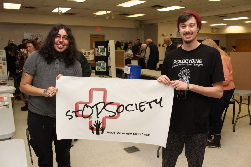Skylar Louttit (left) and Chasse Gibeault (right) of Every Life is of Value: Harm Reduction and Outreach, at the fourth annual Project Impact Community Celebration. (Keira Ferguson/ Sudbury.com)