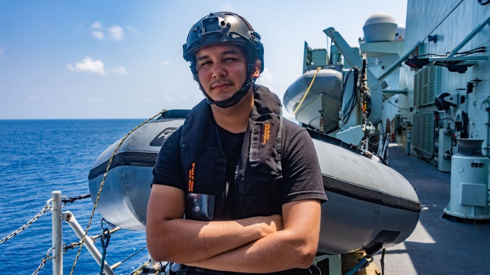 Coree Ranville recently helped to save a sea turtle in distress while serving aboard HMCS Calgary, which was carrying out counter-smuggling patrols off of the coast of Oman.