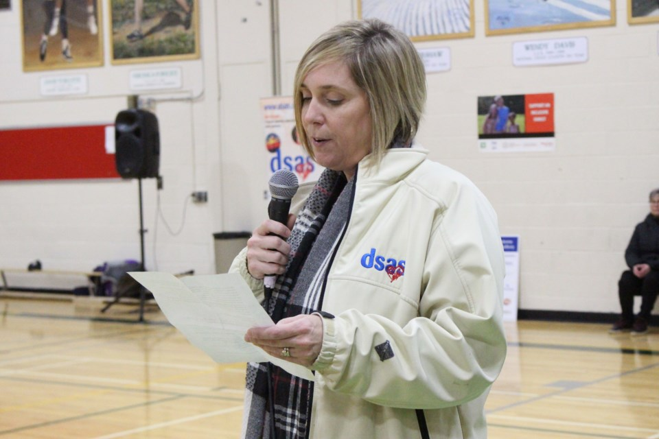 Julie Contini, chair of DSAS, at the sixth annual Go21 Walk at Lockerby Composite School. (Keira Ferguson/ Sudbury.com)