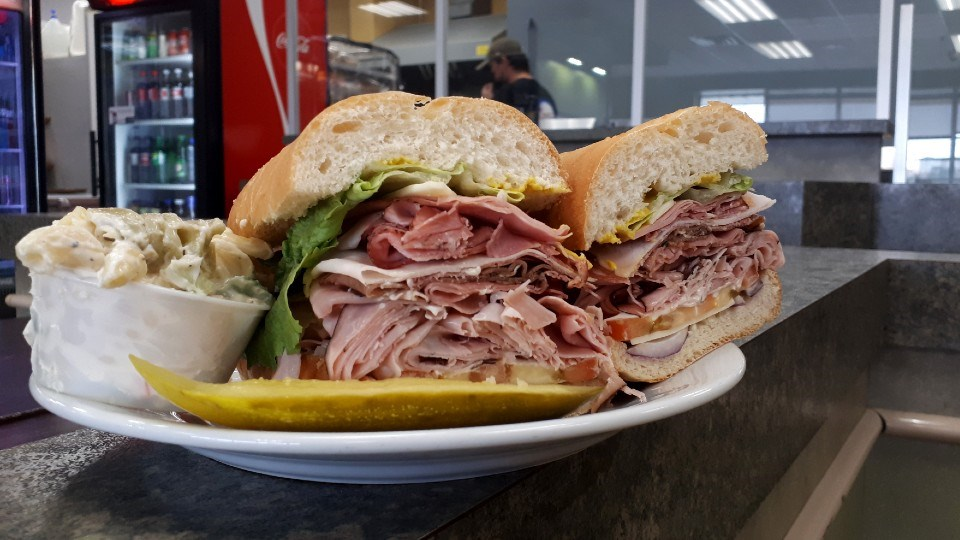 The Paul Bunyan Sandwich, with pickle and side, will definitely fill a hungry belly.