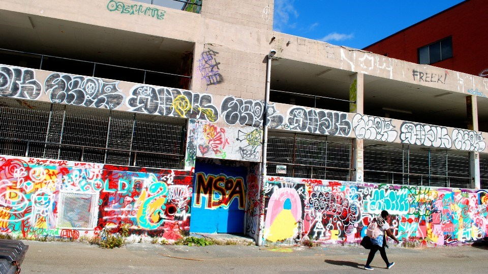 The City of Greater Sudbury's legal graffiti wall pilot project, located at the back lane of 71 Cedar Street in the city's downtown core, is seen in all its vibrant colours on Monday.