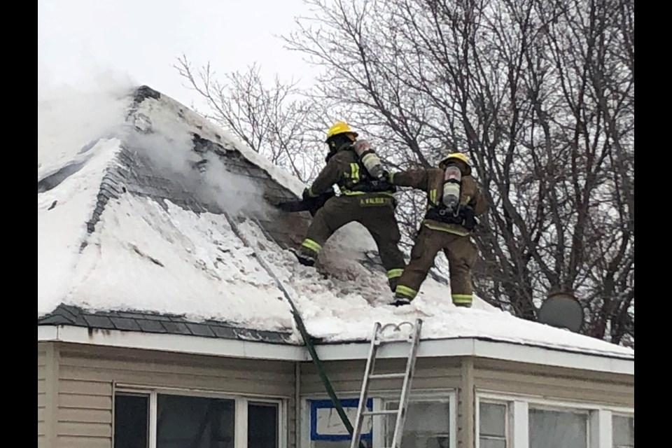 Greater Sudbury Fire Services battles a structure fire in Garson Jan. 15. (Keira Ferguson/Sudbury.com)