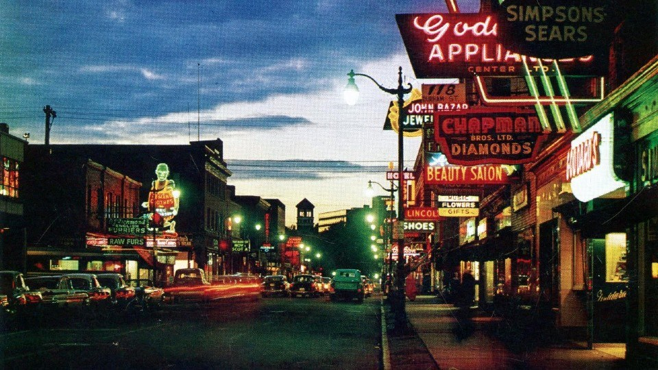 The neon lights are pretty in this postcard of downtown Sudbury from the 1960s.