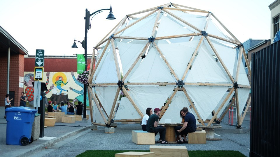 The geodesic dome returns each year for the Up Here festival. This year, the dome is on Durham Street in downtown Sudbury.