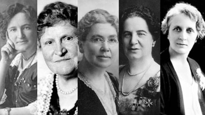 The Famous Five (from left): Nellie McClung, Henrietta Edwards, Louise McKinney, Emily Murphy and Irene Parlby. (Library and Archives Canada)
