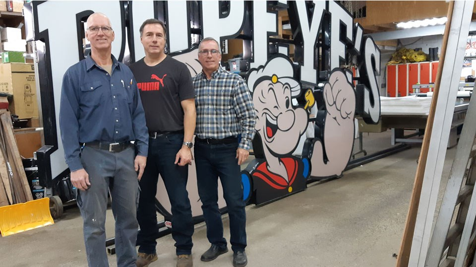 Brothers Claude, René and Marc Pomerleau are the owners of Modern Neon Signs. The took over the business from their parents, Henri and Réjeanne Pomerleau. (Supplied)