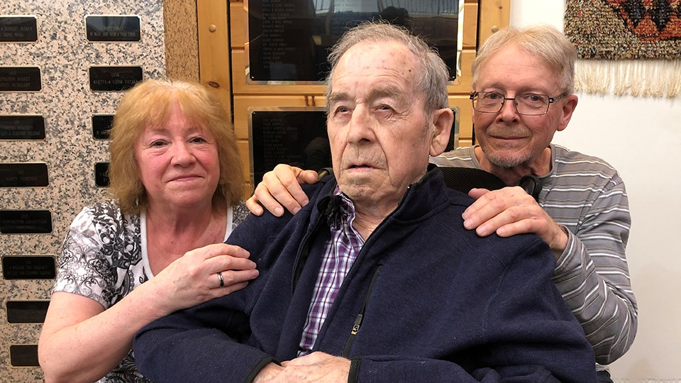 Lucille Ouellette and Rick Levesque (right) with their father, Rhéal Levesque, at Finlandia Village on Feb. 21. The siblings are trying to have their parents, who are currently living apart at two different long-term care homes in Sudbury, reunited 'while they can still remember each other.' (Heather Green-Oliver/Sudbury.com)