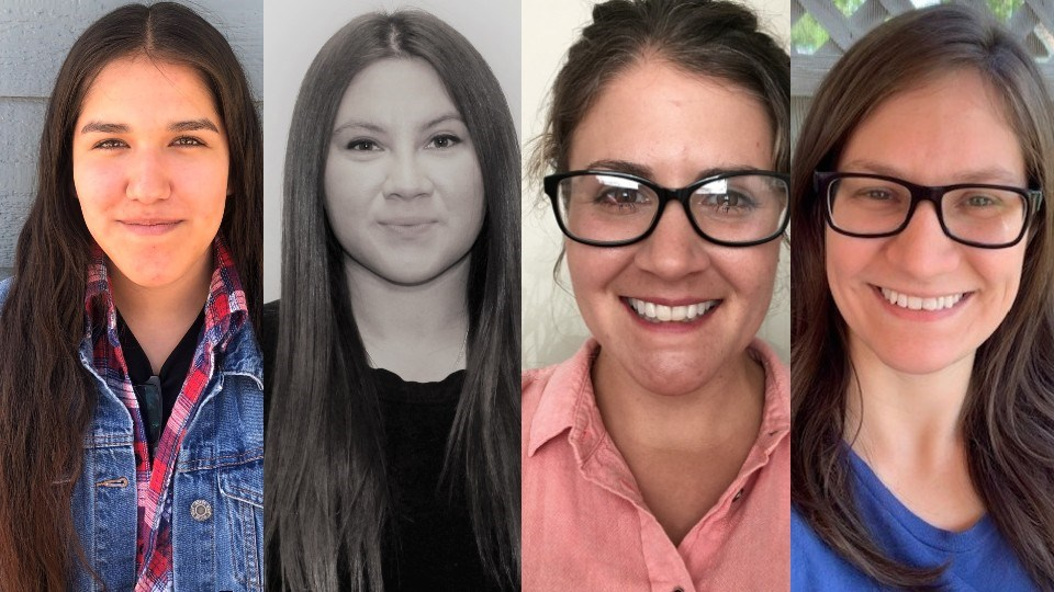Four northeastern Ontario residents have each earned $2,000 scholarships from the Ontario First Nations Technical Services Corporations. They are (from left) Aaryn Zoccole, Bohdana Innes, Chantel Desrochers and Megan Laroche. (Supplied)