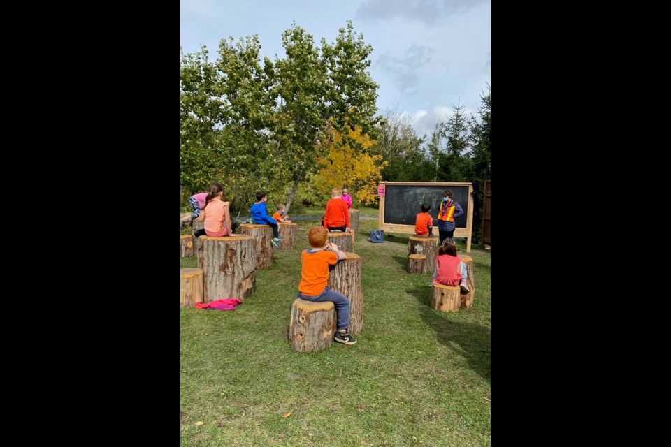 R.L. Beattie Public School students use their new outdoor classroom. (Supplied)