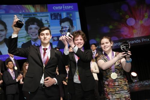 Brendon Matusch, centre, took home top honours at the Canada-Wide Science Fair last week. (Supplied)