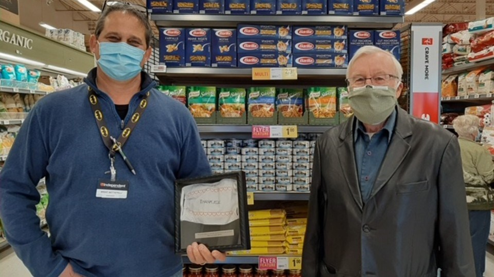 Brent Battistelli from Battistelli's Your Independent Grocer in Lively and Masks for All member, Dr. Richard Denton. (Supplied)