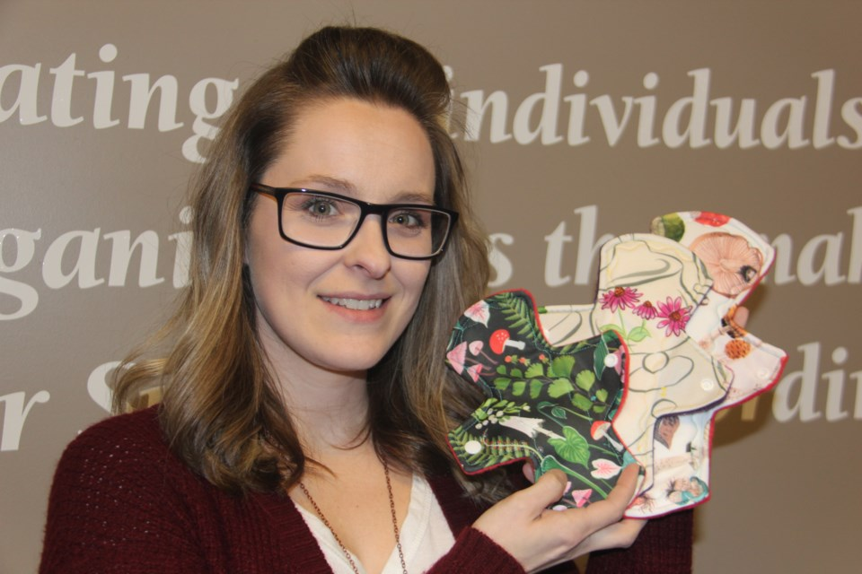 Lady Crimson Cloth Emporium owner Sophie Prisque shows off some of her reusable cloth pads. (Heidi Ulrichsen/Sudbury.com)