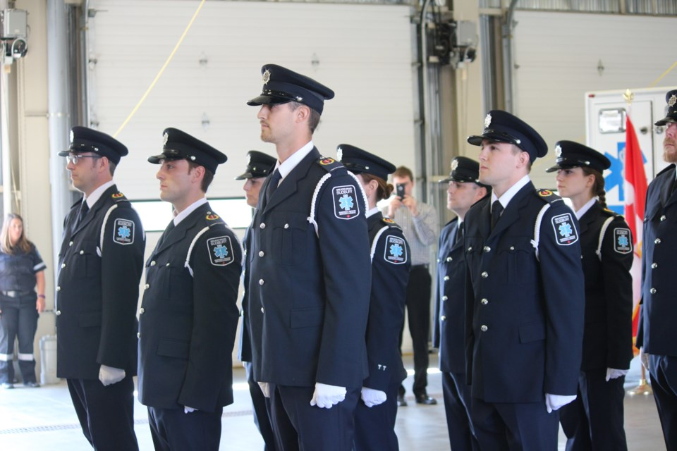 A ceremonial inspection of the newly formed City of Greater Sudbury Paramedic Honour Guard Unit was held at the launch of Paramedic Week at the Lionel E. Lalonde Centre in Azilda on May 24. Photo by Heather Green-Oliver.