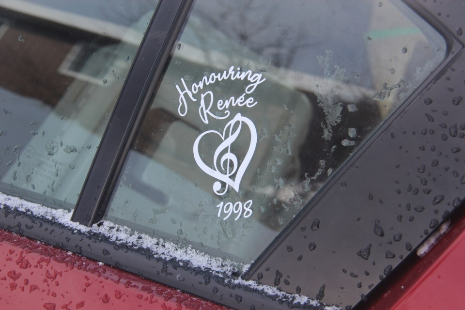One of the car decals honouring Renée Sweeney is seen here. (Heidi Ulrichsen/Sudbury.com)