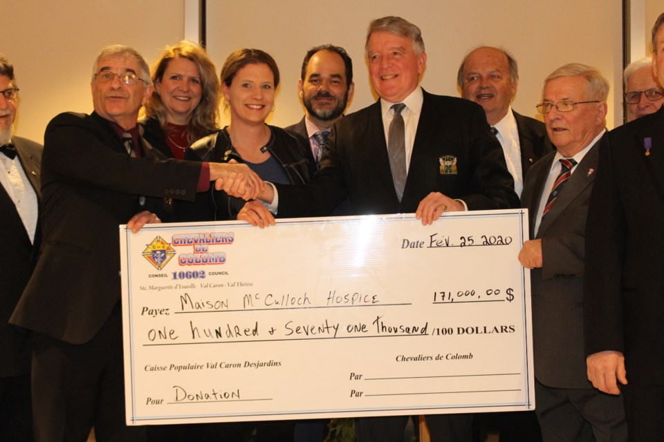 Sudbury's Knights of Columbus councils went well above and beyond for Maison McCulloch Hospice, presenting a cheque for $171,000 on Feb. 25. (Matt Durnan/Sudbury.com)