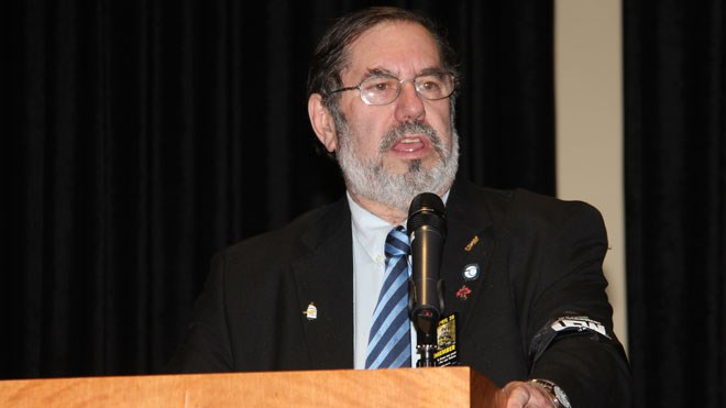 Steelworkers International president Leo Gerard is seen here speaking at Steelworkers Local 6500's Day of Mourning event in Greater Sudbury in 2012. (File)
