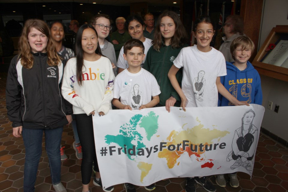 Some of the kids here in Greater Sudbury who pushed for city council to declare a climate change emergency. (Matt Durnan/Sudbury.com)