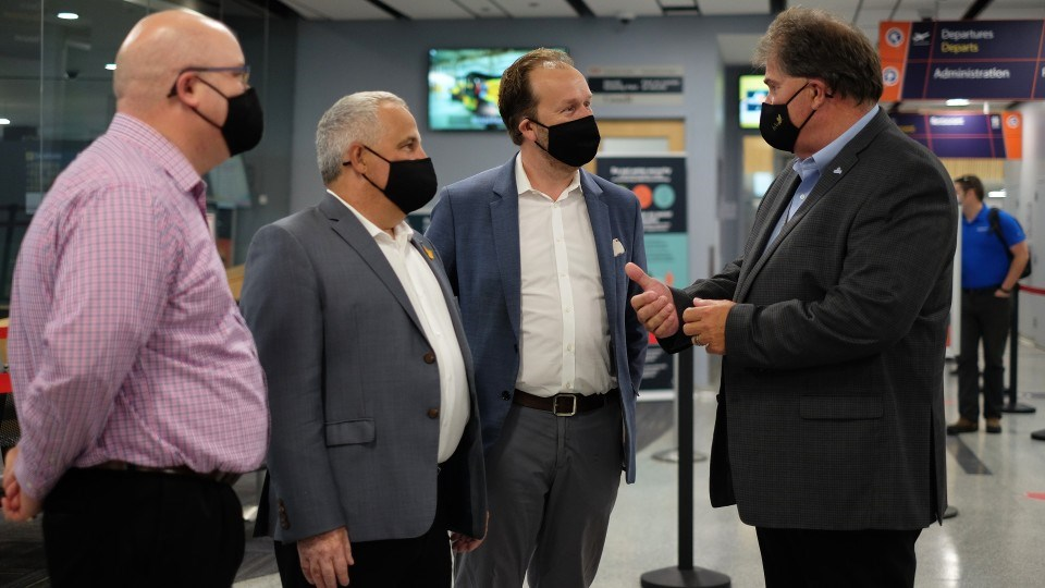 The federal government announced more than $3.5 million in funding for the Sudbury Airport Community Development Corporation July 29. From left are Ward 7 Coun. Mike Jakubo, Nickel Belt MP Marc Serré, Sudbury MP Paul Lefebvre and Greater Sudbury Airport CEO Todd Tripp.
