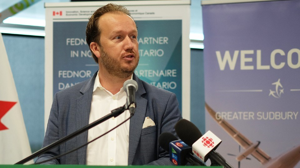 Sudbury MP Paul Lefebvre speaks at a press conference July 29, 2021.