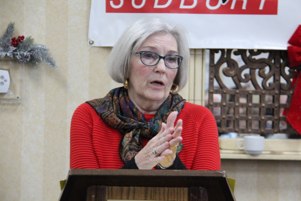 Linda Ryan shares her story at the Action Sudbury Red Ribbon campaign Nov. 29. (Heidi Ulrichsen/Sudbury.com)