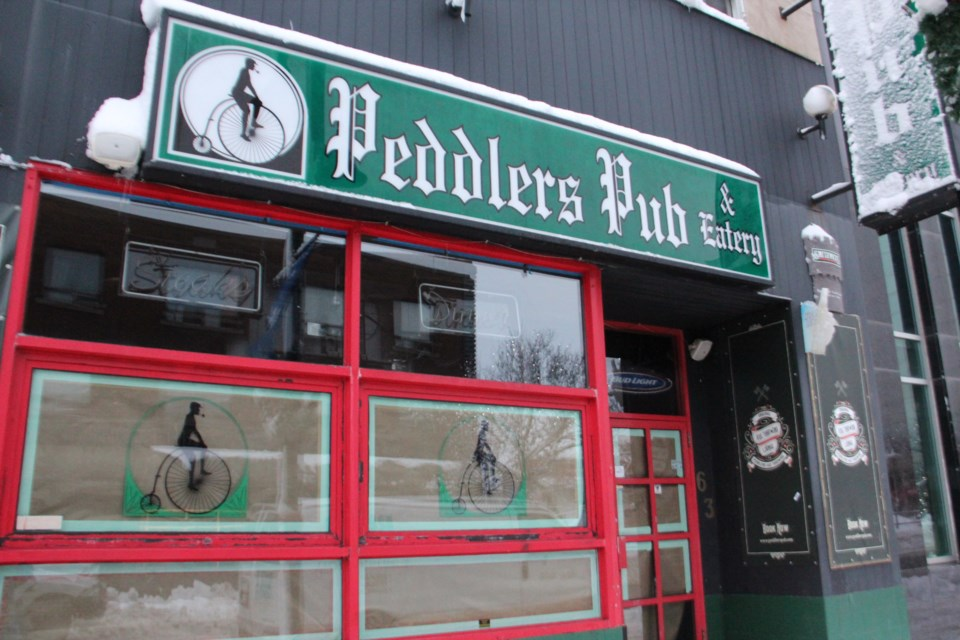 Peddler's Pub in downtown Sudbury is closed following an electrical fire in the building Wednesday night. (Heidi Ulrichsen/Sudbury.com)