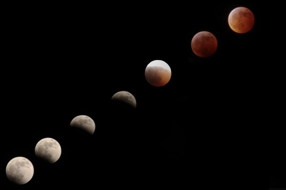 Graham Fielding sent us some photos he took of Sunday's super blood wolf moon eclipse. This one shows the progression of the eclipse. (Supplied/Graham Fielding)