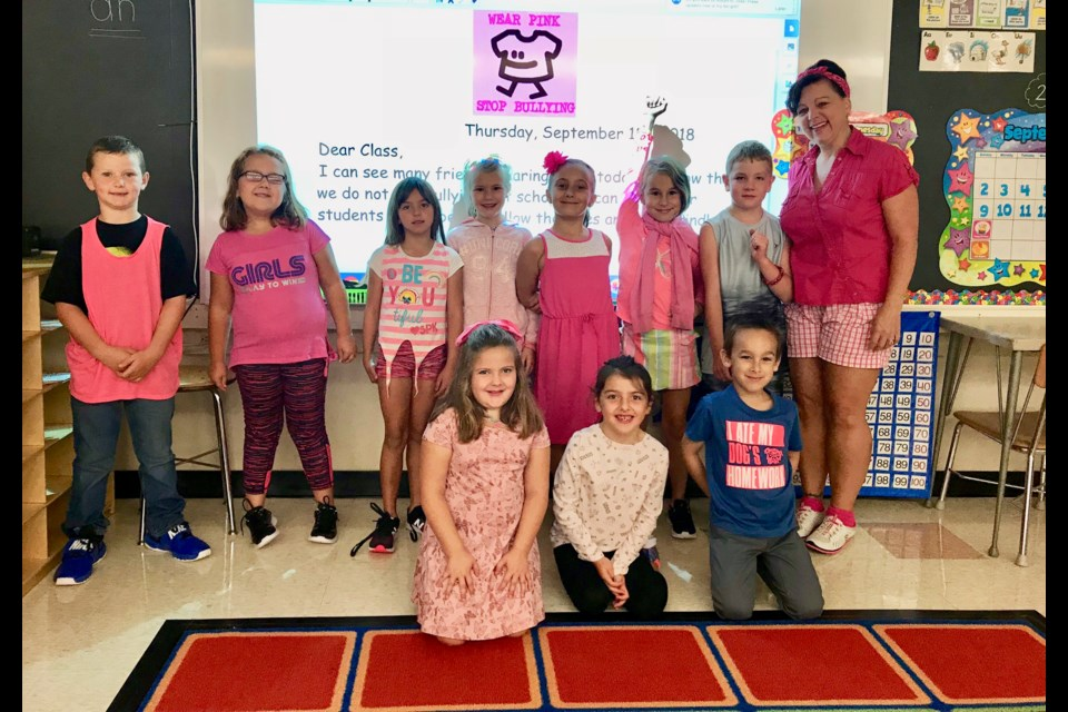 These students from Larchwood Public School dressed up in pink for Stand Up Against Bullying Day. (Supplied/Rainbow District School Board)