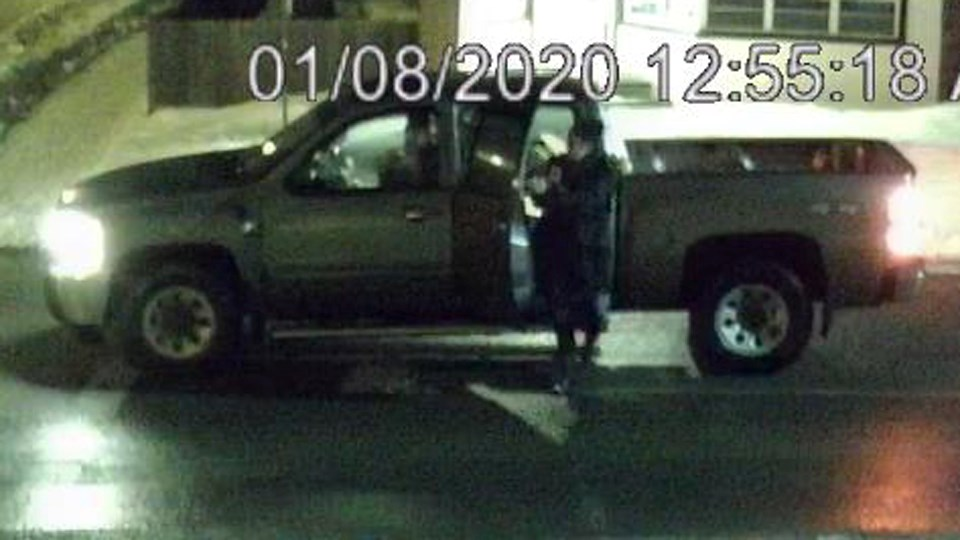 Police are concerned for the well-being of an unnamed woman who was allegedly forced into a pickup truck on Frood Road just before 1 a.m. on Jan. 8. The woman can be seen outside the truck in this image. (Police handout)