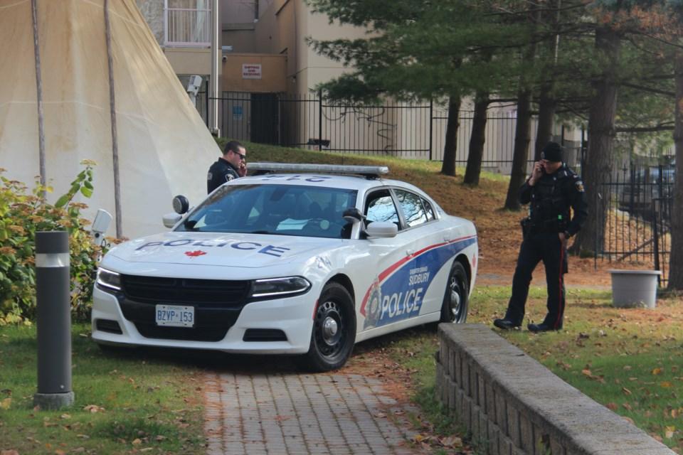 Greater Sudbury Police were at the scene of a sudden death in downtown Sudbury Tuesday morning. (Heidi Ulrichsen/Sudbury.com)