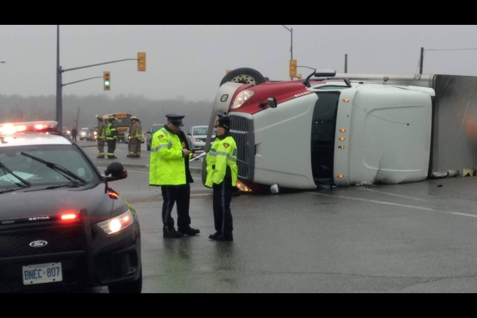 A crash on Highway 17 near Coniston involving a tractor-trailer flipped on its side has closed the highway this morning. Photo by Mark Gentili.