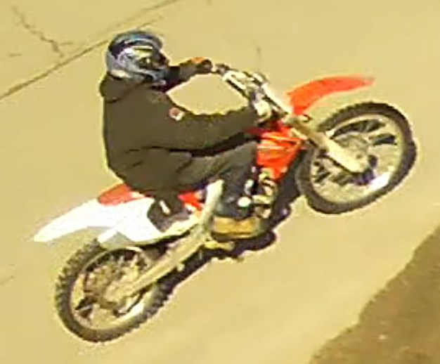 A dirt bike observed being driven dangerously in the Donovan area of Greater Sudbury is likely the same vehicle which sped through the closed Santa Claus Parade route in November, Greater Sudbury Police said in a news release today. (Supplied)