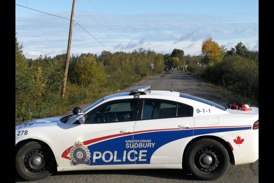 Greater Sudbury Police block off McKenzie Street in Chelmsford after a standoff on the road Sept. 26. (Arron Pickard/Sudbury.com)