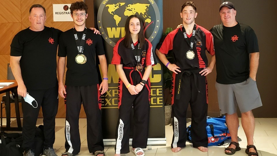 Martial artists from the Sudbury and Valley KMAC captured nine medals in total at the WKC Canadian Nationals in Ottawa, including Josh Carriere, Ocean Avery and Sebastien Maillet. Coaches Joe Carriere and Chris Fortin are also pictured.
