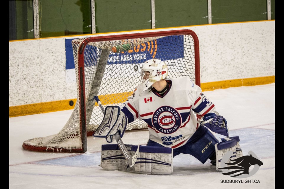 David Bowen is a goaltender for the Rayside-Balfour Canadians of the NOJHL. (Supplied)