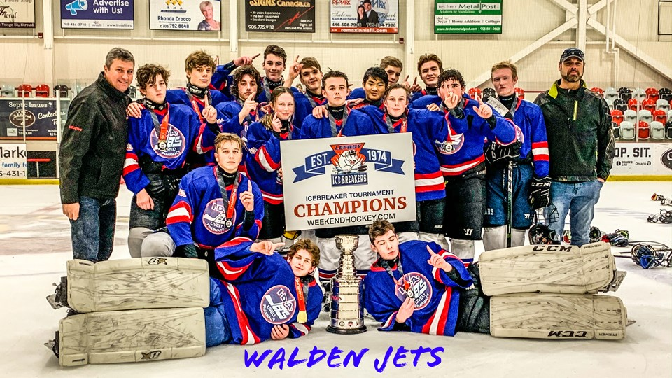 The Walden Minor Hockey major bantam IDA Jets went undefeated to win the Lefroy Ice Breakers tournament Nov. 22-24 in Lefroy, just south of Barrie. Thanks to Marie Fjodrell for the tip and the photo.